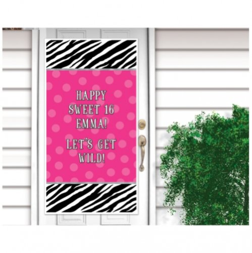 - Pink Polka Dots and Black and White Zebra Print Personalize It! Party Door Decoration (1 Piece), Multi Color, 65