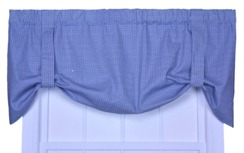 Logan Gingham Check Print Tie-Up Valance Window Curtain, (Blue Logan Check)
