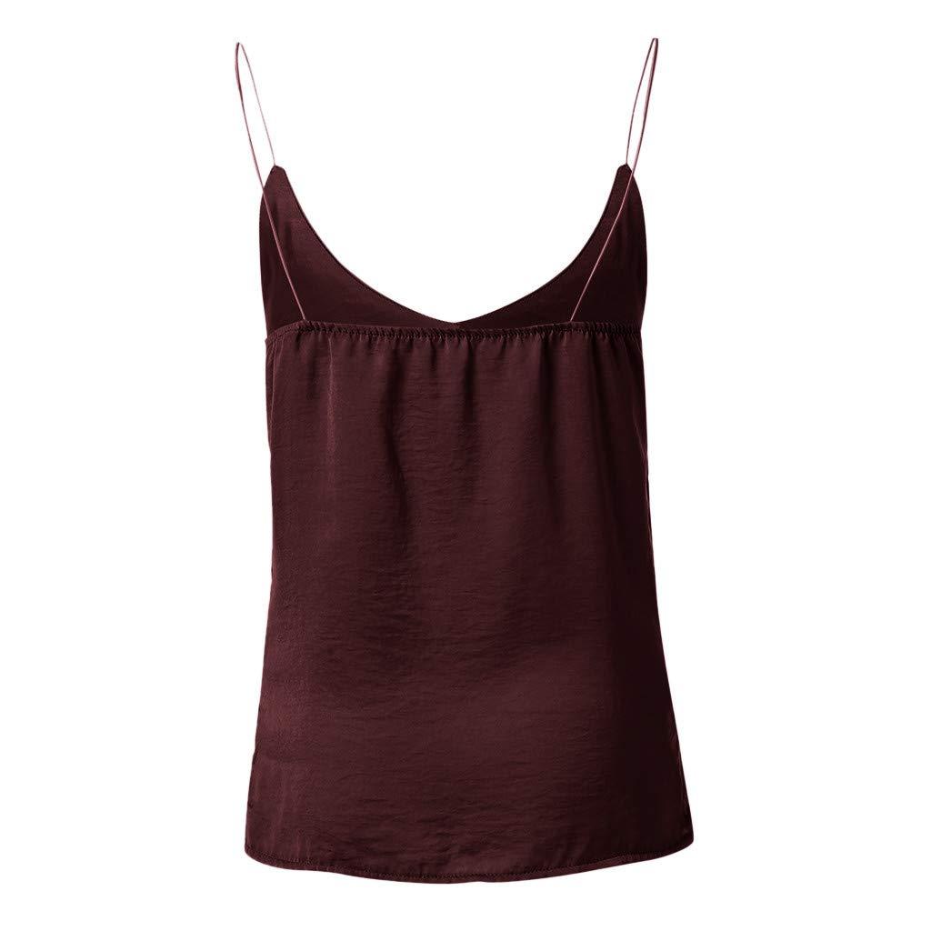 Beikoard Camisola de Las Mujeres,Cuello En V Chaleco Deportivo Mujer,Color Sólido Suelto Casual Camisetas Deporte Mujer Fitness,Tops de Mujer Camisa de ...