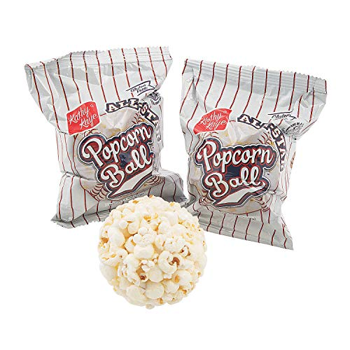 Halloween Popcorn Balls - Fun Express - Baseball Popcorn Balls - Edibles - Snacks & Baking - Salty Snacks - 24 Pieces