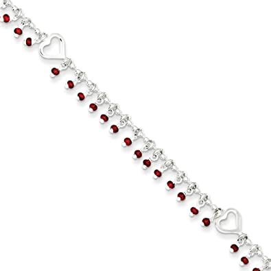 Leg Avenue .925 Sterling Silver 2.00MM Polished Heart Anklet Bracelet with 1 Extender 9 inches