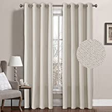 Ivory Linen Curtain Thermal Insulated Grommet Room Darkening Window Treatment Panel for Bedroom Burlap Faux Linen Textured Drapes for Living Room, 52 by 96 Inch (1 Panel)