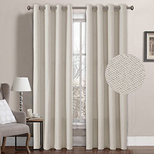 Linen Curtain Natural Look Thermal Insulated Grommet Room Darkening Rich Linen Curtains Window Treatment Panel for Bedroom Burlap Textured Linen Curtain for Living Room, Ivory, 52 by 96 Inch(1 Panel)