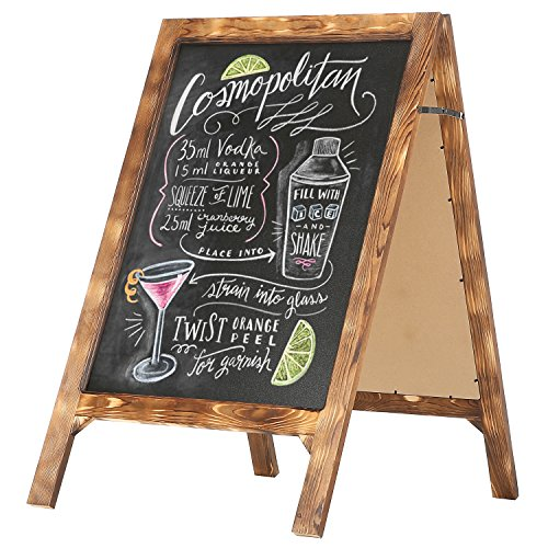 35 X 21 inch Rustic A-Frame Natural Wood Chalkboard Sign w/ Torched Finish - MyGift