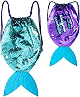 GirlZone Mermaid Tail Reversible Sequin Drawstring Backpack Bag for Girls, Purple and Turquoise Sequins, Great Gift For Girls