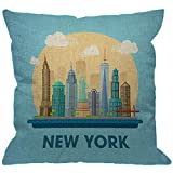 HGOD DESIGNS New York City Throw Pillow Cover,American Downtown Building Stylish Landmarks Skyscraper Statue of Liberty Decorative Pillow Cases Square Cushion Covers for Home Sofa Couch 18x18 inch