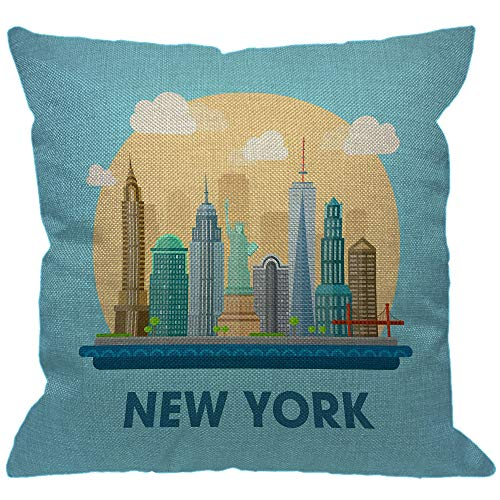 HGOD DESIGNS New York City Throw Pillow Cover,American Downtown Building Stylish Landmarks Skyscraper Statue of Liberty Decorative Pillow Cases Square Cushion Covers for Home Sofa Couch 18x18 inch (Throw Pillows New York)
