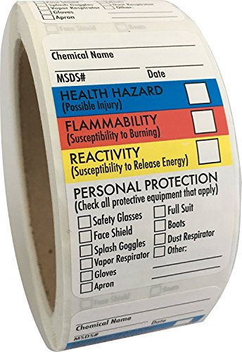"Safety Data Sheet Stickers/MSDS Stickers, 1.5"" x 2.5"", 2 Rolls of 250, Right To Know- Chemical Identifying and Marking Sticker Decals"