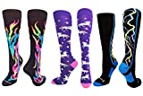 MadSportsStuff Flame Rainbow Unicorn Storm Socks Combo Pack (3 Pack-Multi, Medium)
