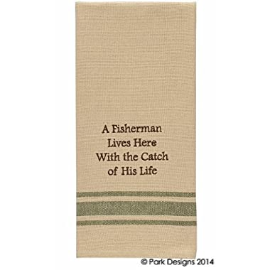 Park Designs Cabin Lake and Lodge Decor - Embroidered Cotton Kitchen Dish Towel (Fisherman Catch of His Life)