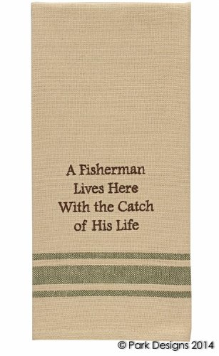 Cabin Lake and Lodge Decor - Embroidered Cotton Kitchen Dish Towel (Fisherman Catch of His Life)