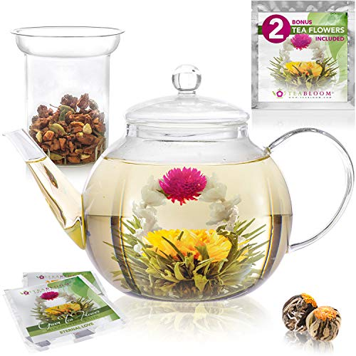 (Teabloom Stovetop Safe Glass Teapot with 2 Blooming Teas & Removable Glass Infuser for Loose Leaf Tea – Premium Quality Teapot Gift Set)