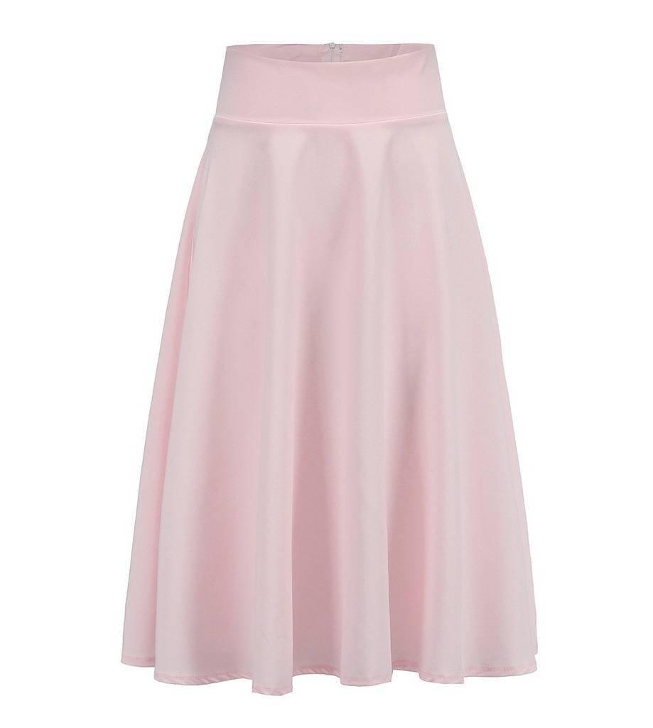 COMVIP Women Plain Zipper High Waist Big Swing Casual A-line Long Skirt Pink XL