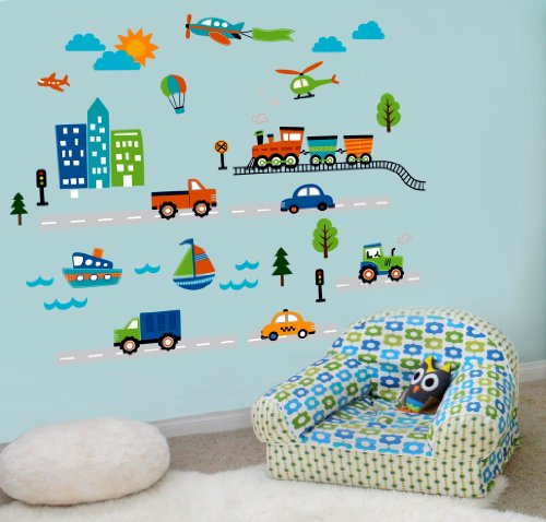 Amazon CherryCreek Decals Transportation and City Scene Kids' Room Peel and Stick Wall Sticker Decals Baby