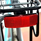 OUTERDO Bicycle Bike Safety Rear Pannier Rack Reflector Lamp Reflective Film Red 35x90mm