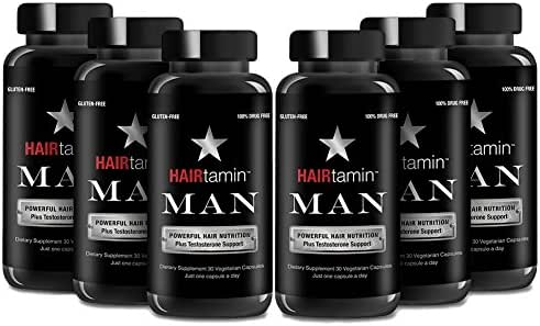 HAIRtamin Man Hair Growth Vitamins - Best Mens Biotin Fast Hair Growth Formula Vitamin Supplement for Thicker Fuller Healthier Hair (6 Month - 180 Capsules)