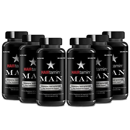 HAIRtamin Man Hair Growth Vitamins - Best Mens Biotin Fast Hair Growth Formula Vitamin Supplement for Thicker Fuller Healthier Hair and Beard Natural Daily Multi Vitamins (6 MONTH - 180 CAPSULES) by HAIRtamin