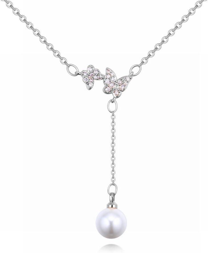 Utilizando el Collar de Perlas de Swarovski Elements Pequeña Cadena de Clavícula Fresca Micro-Zigzag , platino