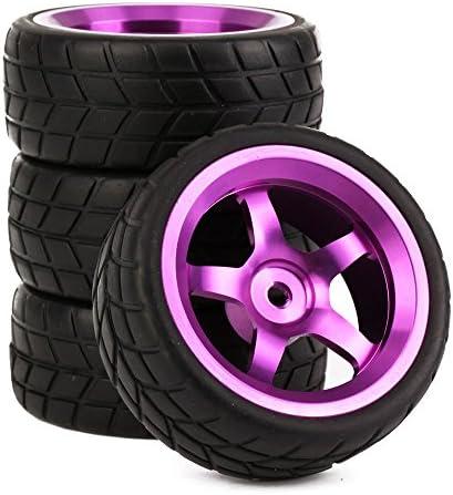 Mxfans RC 1: 10オンロード車ブラックゴム製タイヤタイヤ+パープル5スポーク・アルミホイールリムセットの4