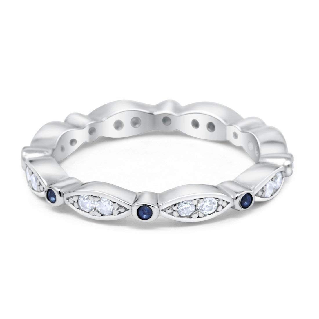 Eternity Wraparound All Seeing Eyes Wedding Band Ring Round Simulated Blue Clean Cubic Zirconia 925 Sterling Silver, Size-5