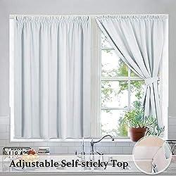 RYB HOME Portable Blackout Blinds Curtain Set Draped Self-Adhesive Window Treatment Drapes
