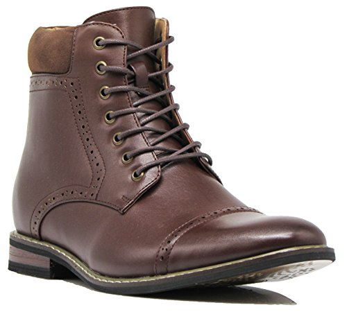 Enzo Romeo OTW4N Men's Chukka Ankle Dress Boots Captoe For Winter Lace Up Oxfords Boots (8.5 D(M) US, Brown)