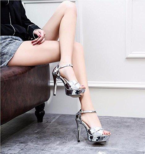 Gtvernh - Nouvelle Nuit Sexy À La Mode Dans Les Pieds Des Sandales Une Epaisseur De Douze Centimètres De Talons Boucles D'eté Stilettos 39 Argenté