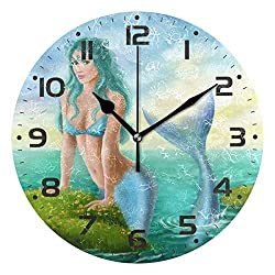 Naanle Fantasy Beautiful Woman Mermaid in Ocean Marine Sea Life Round/Square/Diamond Acrylic Wall Clock Oil Painting Home Office School Decorative Creative Dual Use Clock Art