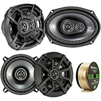 2 Pair Car Speaker Package Of 2x Kicker CSC54 450-Watt 5-1/4 Inch 2-Way Black Coaxial Speakers + 2x CSC6934 900W 6x9 CS Series 3-Way Speakers - Bundle Combo With Enrock 50 Foot 14 Gauge Speaker Wire