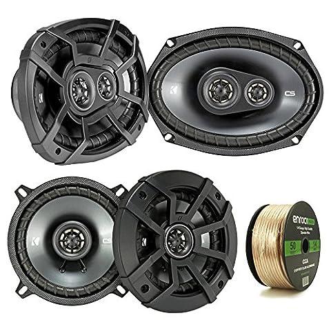 2 Pair Car Speaker Package Of 2x Kicker CSC54 450-Watt 5-1/4