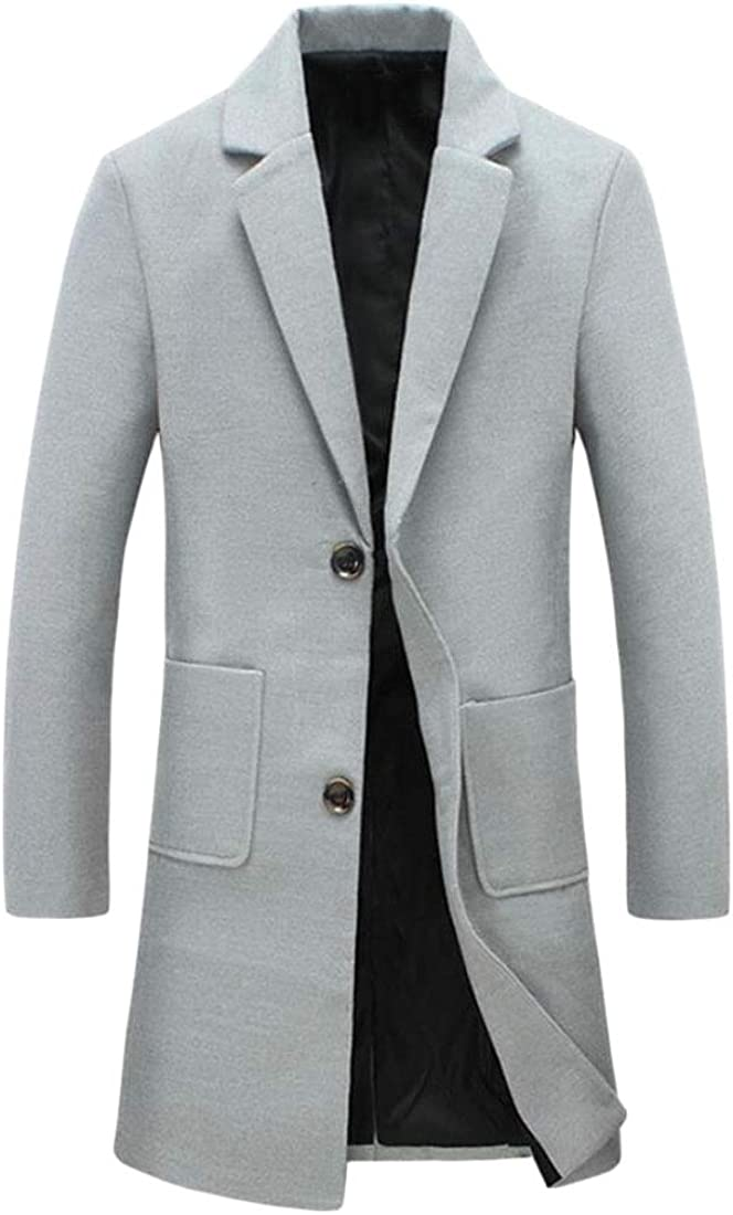 omniscient Men Slim Fit Single Breasted Woolen Trench Coat Solid Color Long Windbreaker Outwear Light Grey 2XL