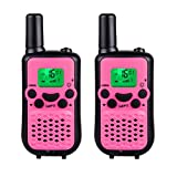 DuaFire Durable Kids Walkie Talkies, 2 Way Radio for Kids Playing Games, Back-lit LCD Screen and Strengthen VOX Free Your Hands (Pink)