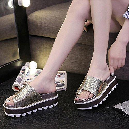 Heart&M Moda Todo-fósforo de la mujer gruesa suela plana único alto talón de las sandalias de los deslizadores Anillo Gold