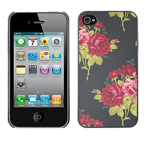 TopCaseStore / caoutchouc Hard Case Housse de protection la Peau - Vintage Dress Fashion Flowers - Apple iPhone 4 / 4S