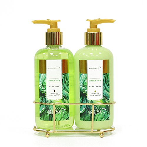 Spa Luxetique Hand Soap and Hand Lotion Caddy Set, Green Tea Hand Cream Gift Set, Ideal Gift for the Holidays, Christmas, Birthday, Mother