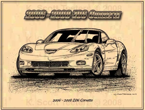 (C6 2006-2008 Z06 Chevrolet Corvette Profile Car Art Print)