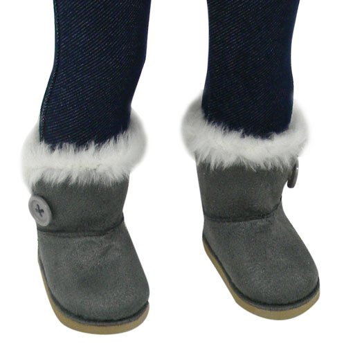 Review Stylish 18 Inch Doll Boots Fits 18 Inch American Girl Dolls & More! Sophia's Doll Shoes of Gray Suede Style Boots W/ Button & White Fur by My Doll's Life