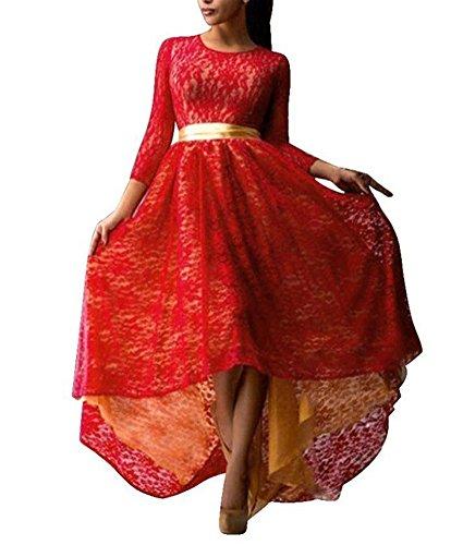Maxi Encaje Largo Mujer 3 Dress Rojo 4 Manga Minetom Dobladillo Coctel Vintage Cocktail Chic Asimétrico Noche Vestido Elegante 0qRxHE