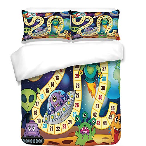 (iPrint 3Pcs Duvet Cover Set,Board Game,Outer Space Creatures Sci Fi Rocket Cosmonaut Monsters UFOs Earth Composition,Multicolor,Best Bedding Gifts for Family/Friends)