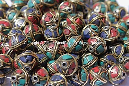 Jewelry Making Supplies - 10 Beads - Bicone Tibetan Beads with Brass, Lapis, Turquoise &Coral Inlays - Handmade Beads - Ethnic Tribal Tibetan Beads - B2579-10 - Perfect and Stunning Beads ()