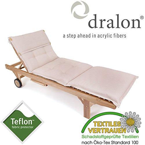 PL65: dralon® / Teflon™ PREMIUM AUFLAGE FÜR LIEGE 198 x 64 CM SAND