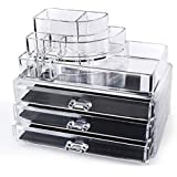 """Home-it Clear acrylic makeup organizer cosmetic organizer and Large 3 Drawer Jewerly Chest or makeup storage ideas Case Lipstick Liner Brush Holder make up boxes Organizer measures (10""""x6""""x7.7"""")"""