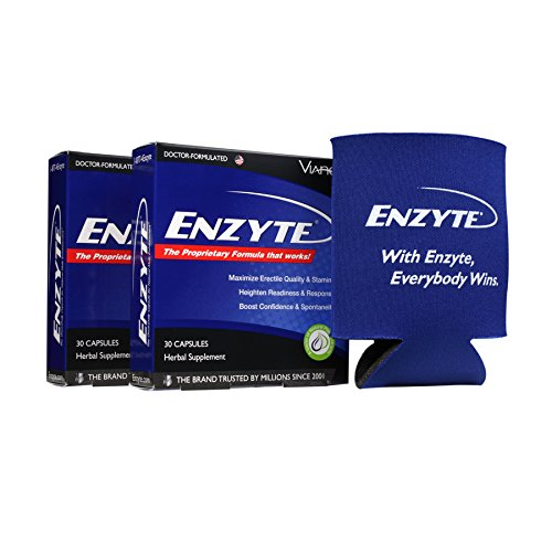Enzyte Male Enhancement Supplement | Asian Ginseng Root, Horny Goat Weed, Ginkgo Biloba, Grape Seed Extract -Enhance Performance - 3rd Party Tested for Purity & Potency-Free Enzyte Koozie- 60 Capsules