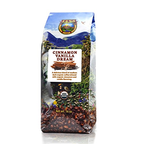 Java Planet - Flavored Coffee Beans, Organic Coffee infused with Organic Cinnamon and Vanilla flavoring, Fair Trade, Medium Dark Roast, Arabica Gourmet Coffee Grade A, packaged in 1 LB bag
