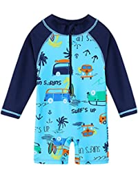 d2947d25d1 Baby Toddler Boy Swimsuit Long Sleeve One-Piece Swimwear Rashguard