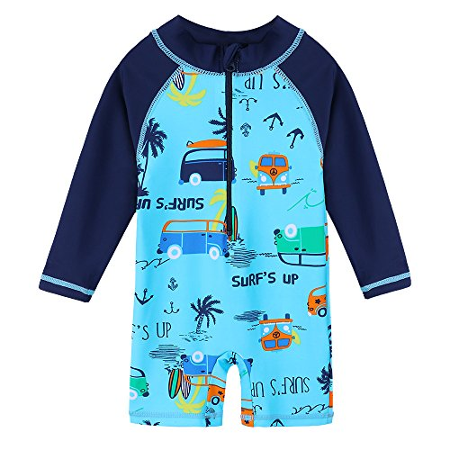 HUANQIUE Baby Toddler Boy Swimsuit Rash Guard Swimwear One Piece Car 6-12 Month