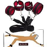 Sotto la polsini e bed caviglia SM Bondage Manette Sessuali Sex Games letto fermo con cinghie regolabili per la coppia maschio Delle catene di abusi sessuali gioco perverso maschile e femminile femmina (rosso)