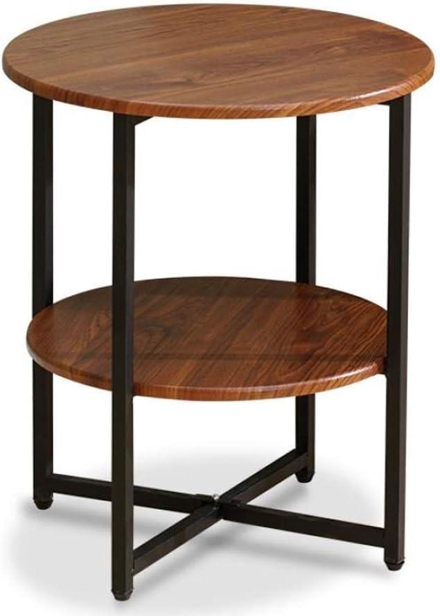 De Goedkoopste 1.14 salontafel, woonkamertafel, 2 dier, bijzettafeltje ijzer + hout, salontafel, bijzettafel, nachtkastje met opbergplank, voor woonkamer (kleur: zwart) Dark Wood Grain Jw0kiGu