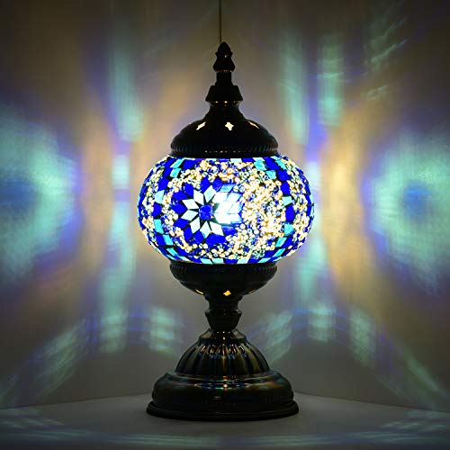 Marrakech Turkish Table Lamp Mosaic Glass Bedside Table Lamp Moroccan Lantern Tiffany Style Night Lights with Bronze Base for Living Room (Blue) (Lanterns Morroccan)