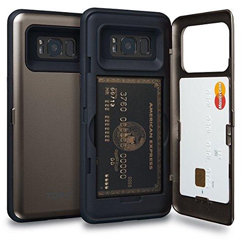 TORU CX PRO Galaxy S8 Wallet Case with Hidden ID Slot Credit Card Holder Hard Cover & Mirror for Samsung Galaxy S8 - Gunmetal
